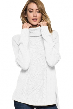 Womens High Collar Long Sleeve Side Slits Plain Knit Sweater White