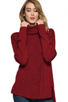 Womens High Collar Long Sleeve Side Slits Plain Knit Sweater Ruby