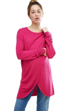 Womens Asymmetrical Hem Maternity Oversized Pullover Sweater Rose Red