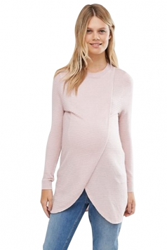 Womens Asymmetrical Hem Maternity Oversized Pullover Sweater Pink