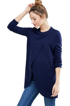Womens Asymmetrical Hem Maternity Oversized Pullover Sweater Navy Blue
