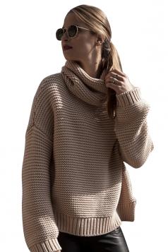 Womens High Collar Long Sleeve Side Slit Plain Pullover Sweater Khaki