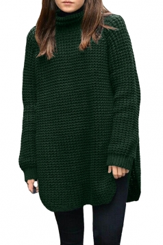 Women Oversized High Collar High Low Plain Pullover Sweater Dark Green