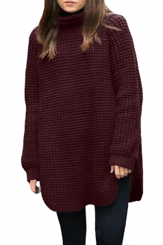 Womens Oversized High Collar High Low Plain Pullover Sweater Ruby