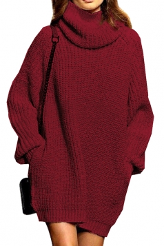 Womens Thicken High Collar Long Sleeve Plain Sweater Dress Ruby