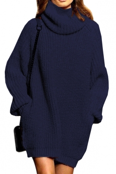 Womens Thicken High Collar Long Sleeve Plain Sweater Dress Navy Blue