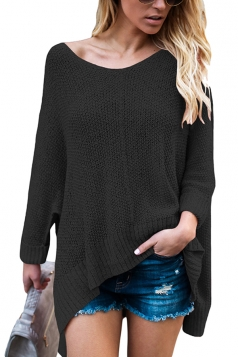 Womens Sexy V-Neck Asymmetrical Hem Plain Pullover Sweater Black