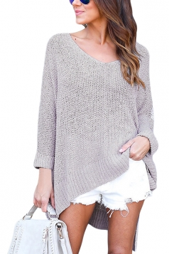 Womens Sexy V-Neck Asymmetrical Hem Plain Pullover Sweater Gray
