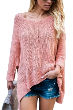 Womens Sexy V-Neck Asymmetrical Hem Plain Pullover Sweater Pink