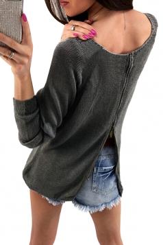 Womens Long Sleeve Crew Neck Back Zipper Plain Sweater Black