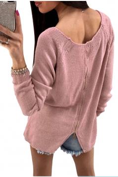 Womens Long Sleeve Crew Neck Back Zipper Plain Sweater Pink