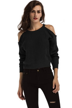 Womens Sexy Cold Shoulder Long Sleeve Plain Pullover Sweater Black