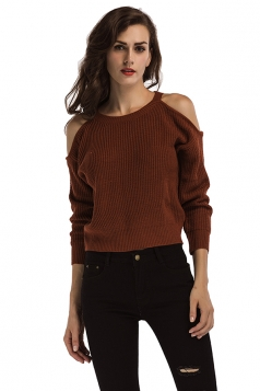Womens Sexy Cold Shoulder Long Sleeve Plain Pullover Sweater Coffee