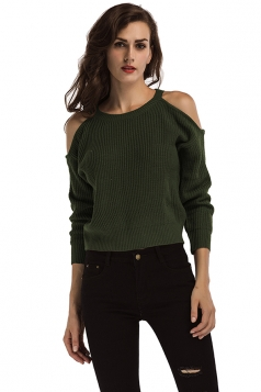 Women Sexy Cold Shoulder Long Sleeve Plain Pullover Sweater Dark Green