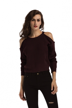 Womens Sexy Cold Shoulder Long Sleeve Plain Pullover Sweater Ruby