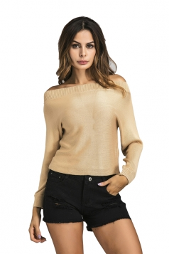 Womens Sexy Off Shoulder Long Sleeve Plain Pullover Sweater Khaki