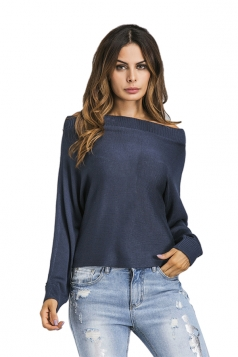 Womens Sexy Off Shoulder Long Sleeve Plain Pullover Sweater Navy Blue