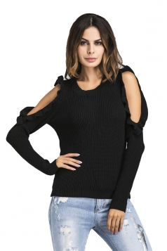 Womens Sexy Cold Shoulder Ruffle Plain Pullover Sweater Black