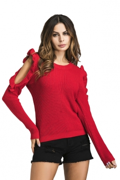 Womens Sexy Cold Shoulder Ruffle Crew Neck Plain Pullover Sweater Red