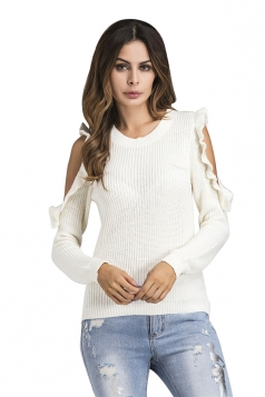 Womens Sexy Cold Shoulder Ruffle Plain Pullover Sweater White