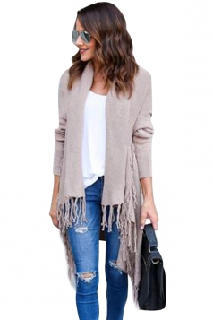 Womens Turndown Collar Tassel Long Sleeve Plain Cardigan Apricot