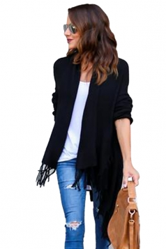 Womens Turndown Collar Tassel Long Sleeve Plain Cardigan Black