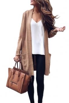 Womens Trendy Pockets Long Sleeve Plain Cardigan Khaki