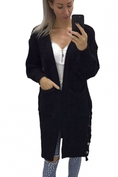 Womens Casual Lace Up Pockets Long Sleeve Plain Cardigan Black