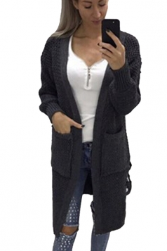 Womens Casual Lace Up Pockets Long Sleeve Plain Cardigan Dark Gray