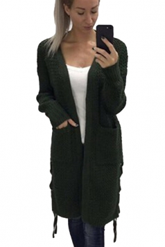 Womens Casual Lace Up Pockets Long Sleeve Plain Cardigan Green