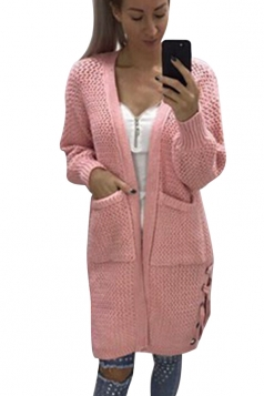 Womens Casual Lace Up Pockets Long Sleeve Plain Cardigan Pink