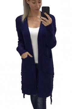 Womens Casual Lace Up Pockets Long Sleeve Plain Cardigan Navy Blue