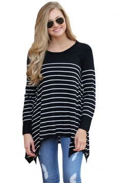 Womens Long Sleeve Asymmetrical Hem Striped Pullover Sweater Black