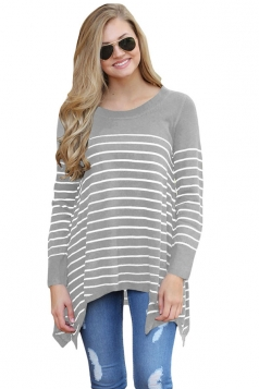 Womens Long Sleeve Asymmetrical Hem Striped Pullover Sweater Gray