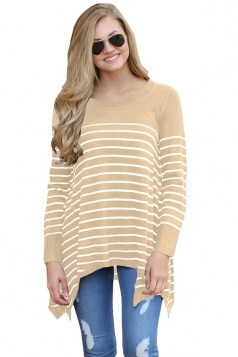 Womens Long Sleeve Asymmetrical Hem Striped Pullover Sweater Khaki