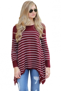 Womens Long Sleeve Asymmetrical Hem Striped Pullover Sweater Ruby