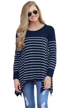 Womens Long Sleeve Asymmetrical Hem Striped Pullover Sweater Navy Blue