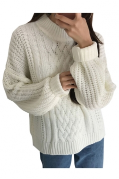 Womens Oversized Batwing Sleeve Knit Plain Pullover Sweater White