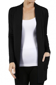 Womens Close-Fitting Long Sleeve Pockets Plain Cardigan Black