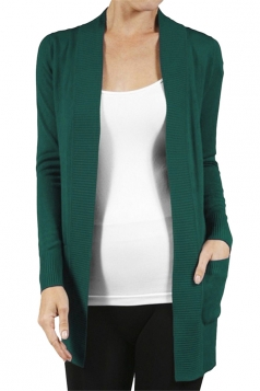 Womens Close-Fitting Long Sleeve Pockets Plain Cardigan Dark Green