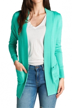 Womens Close-Fitting Long Sleeve Pockets Plain Cardigan Green