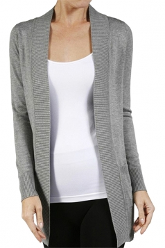 Womens Close-Fitting Long Sleeve Pockets Plain Cardigan Gray