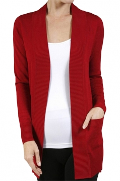 Womens Close-Fitting Long Sleeve Pockets Plain Cardigan Red
