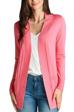 Womens Close-Fitting Long Sleeve Pockets Plain Cardigan Watermelon Red