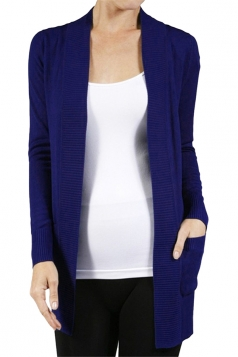 Womens Close-Fitting Long Sleeve Pockets Plain Cardigan Sapphire Blue
