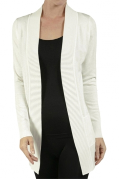 Womens Close-Fitting Long Sleeve Pockets Plain Cardigan White