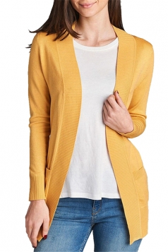 Womens Close-Fitting Long Sleeve Pockets Plain Cardigan Yellow