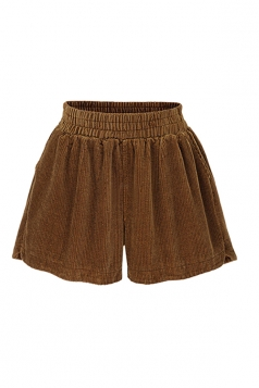 Womens Plus Size Thicken Ruffled Oversized Plain Shorts Brown
