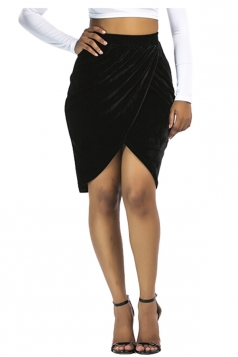 Womens Sexy Slit Pleated Midi Bodycon Skirt Black