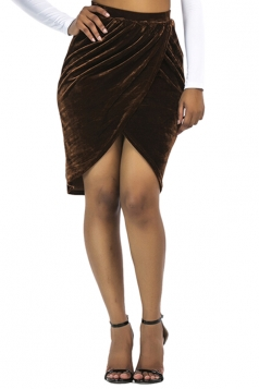 Womens Sexy Slit Pleated Midi Bodycon Skirt Coffee